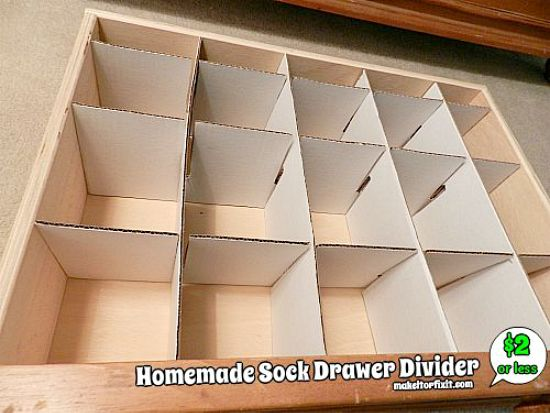 homemade sock drawer divider