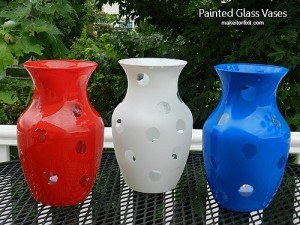 DIY Red White and Blue Glass Vases